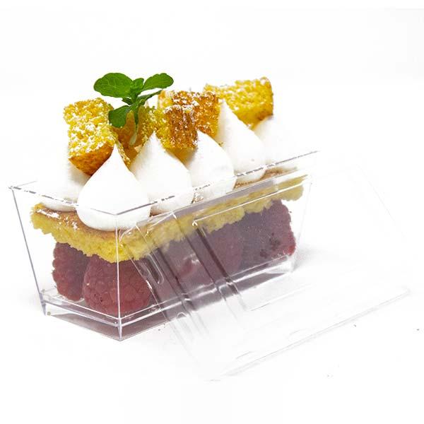 Rectangular Plastic Dessert Cups With Lids